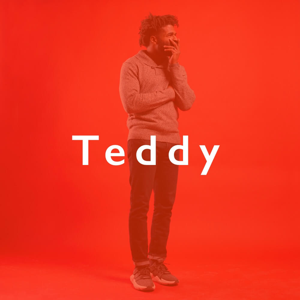 Teddy Young Co-Founder and President orange tint with text